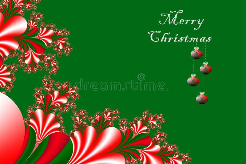 Merry Christmas and Happy New year with fractal embellishment, w. Inter card concept royalty free illustration