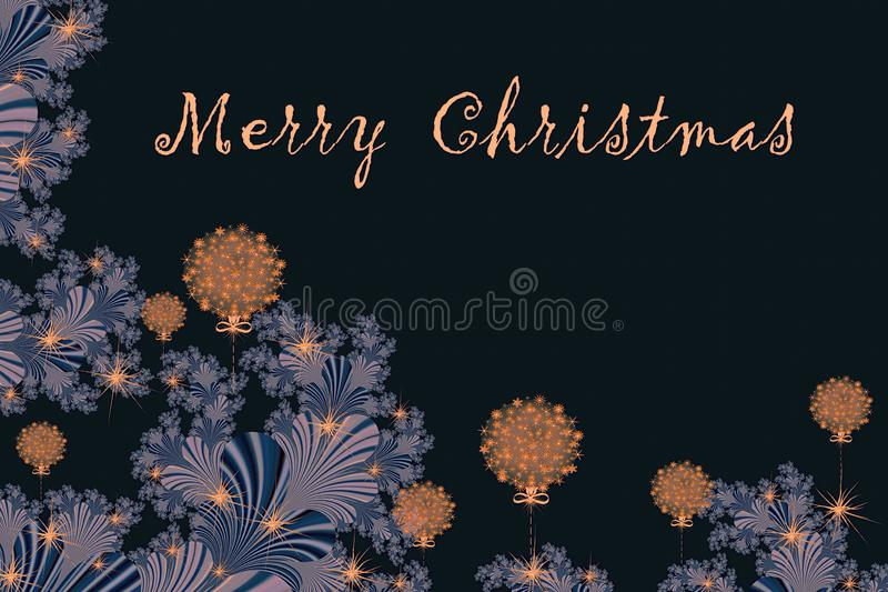 Merry Christmas and Happy New year with fractal embellishment, w. Inter card concept stock illustration