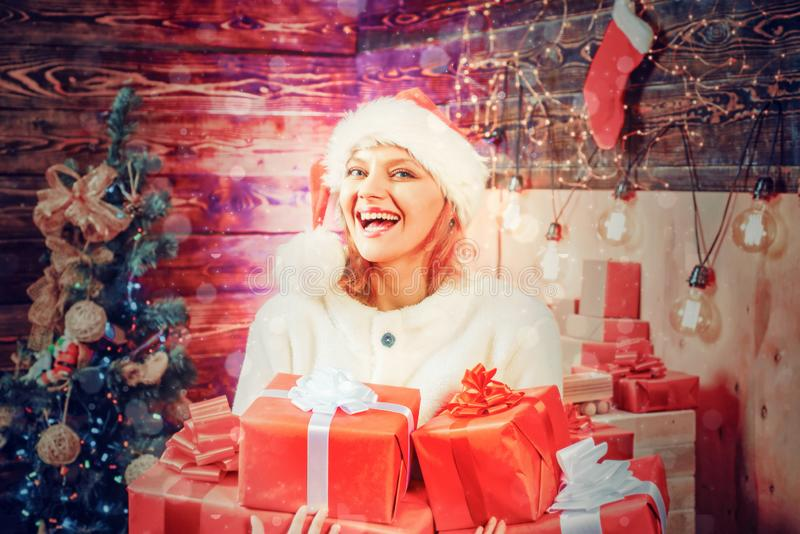 Merry Christmas and Happy New Year. Funny. Home Holiday. Christmas woman dress. Christmas interior. Friendly and joy. Event stock images
