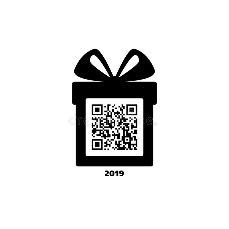 Merry Christmas and Happy New Year! Gift box with bow and greetings. Icon. Black and white. Vector QR code. 2019 vector illustration