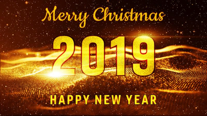 Merry Christmas and Happy New Year 2019 Gold color. Best for new year event, for greetings card, flyers, invitation, posters, stock illustration