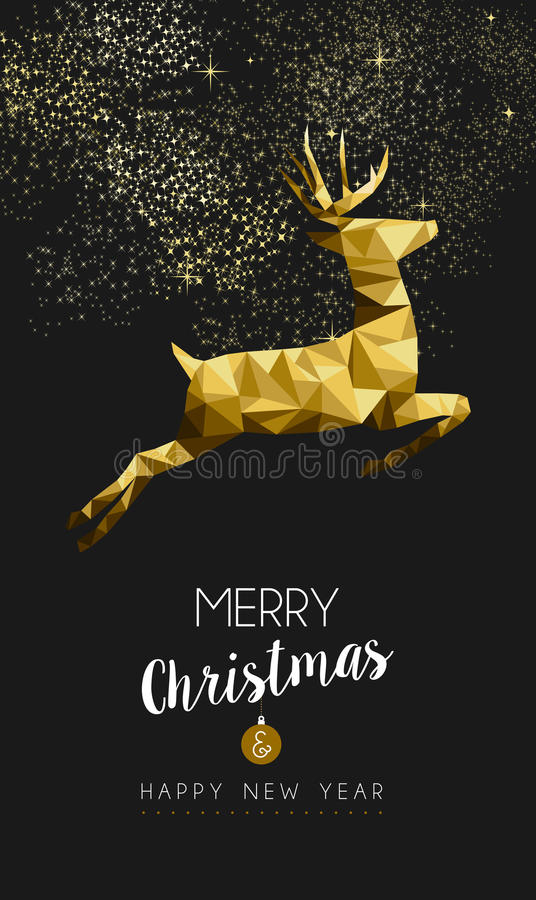 Merry christmas happy new year gold deer low poly vector illustration