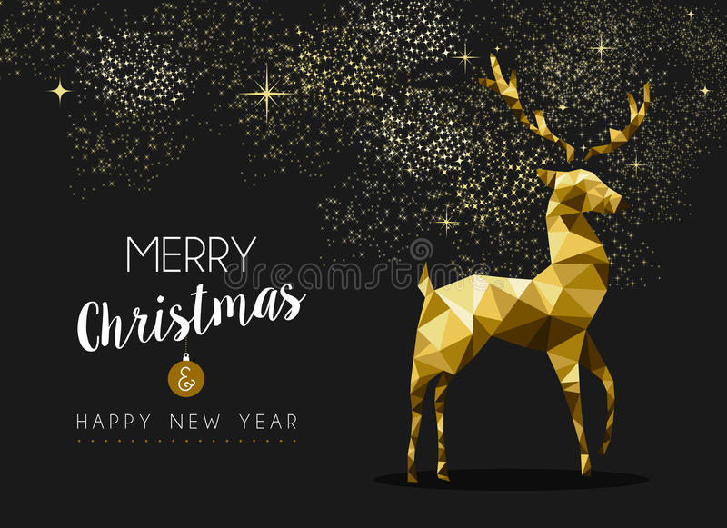 Merry christmas happy new year gold deer origami. Merry christmas happy new year fancy gold deer shape in hipster origami style. Ideal for xmas card or elegant vector illustration
