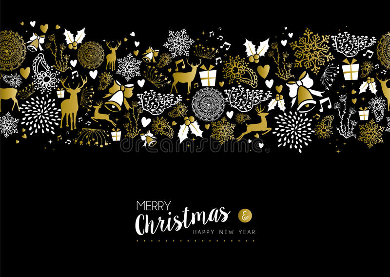Merry christmas happy new year gold pattern retro royalty free illustration