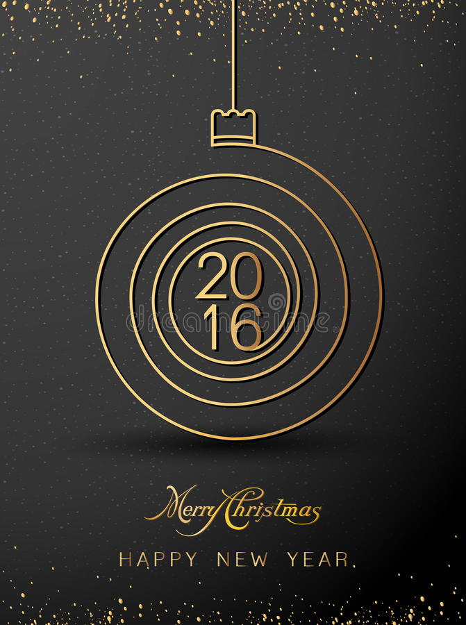 Merry christmas happy new year gold 2016 spiral shape. Ideal for xmas card or elegant holiday party invitation. EPS10 . royalty free illustration