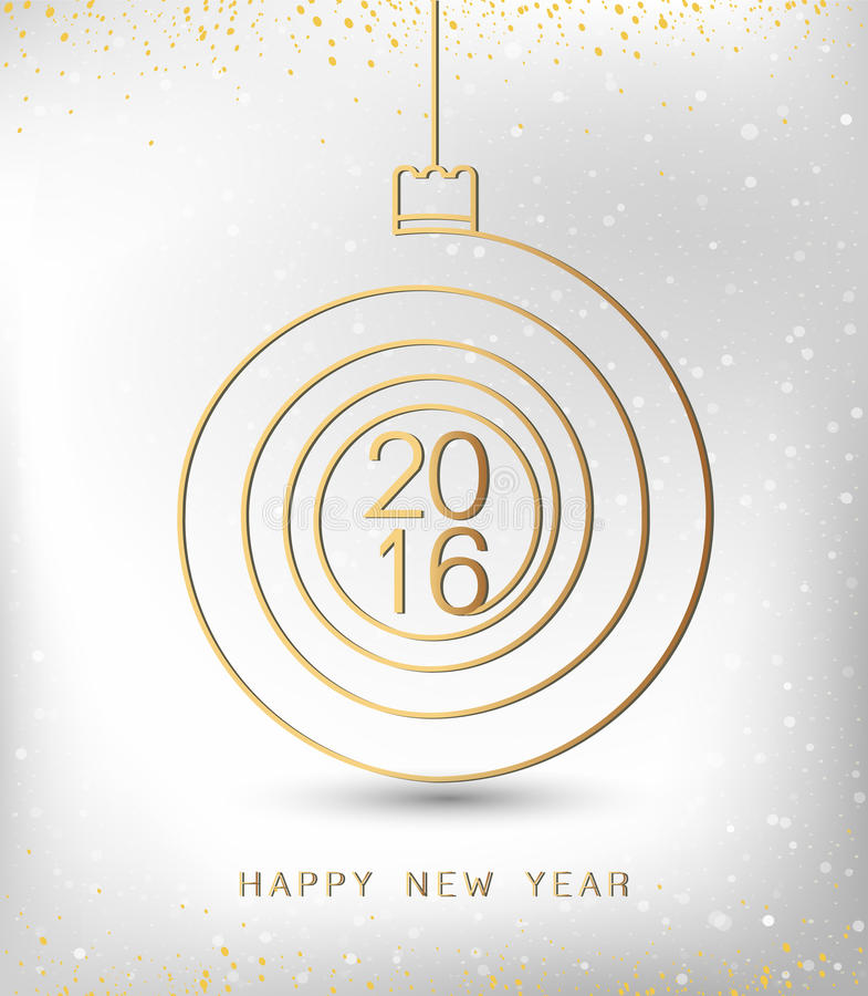 Merry christmas happy new year gold 2016 spiral shape. Ideal for xmas card or elegant holiday party invitation. EPS10 vector. stock illustration