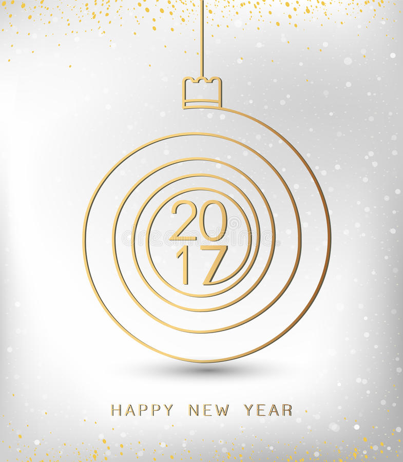 Merry christmas happy new year gold 2017 spiral shape. Ideal for xmas card or elegant holiday party invitation. Vector vector illustration