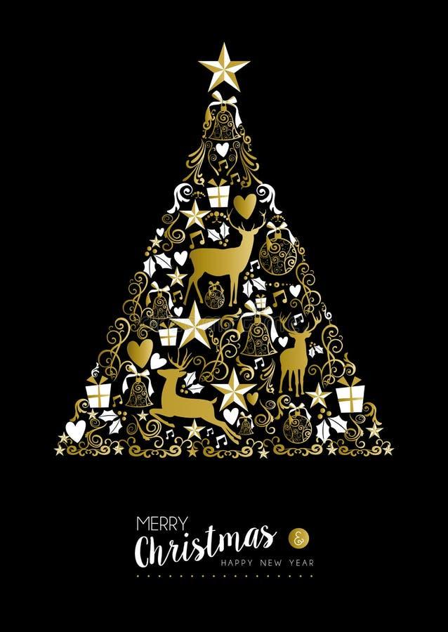 Free Merry Christmas Happy New Year Gold Xmas Tree Deer Stock Image - 62167351