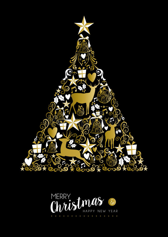 Merry christmas happy new year gold xmas tree deer stock illustration