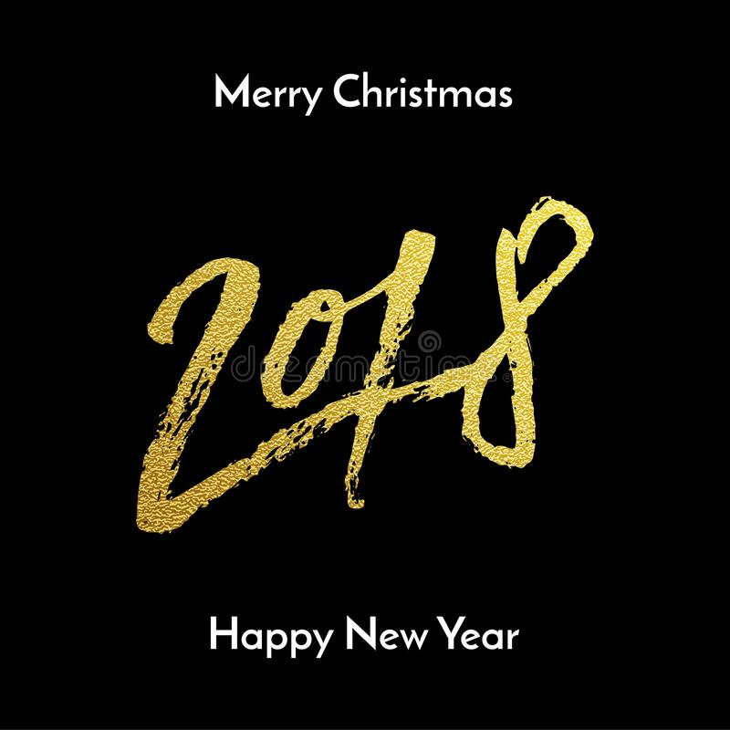 Merry Christmas 2018 Happy New Year golden glitter calligraphy lettering font for greeting card design template. Vector hand drawn. Gold glitter texture text stock illustration