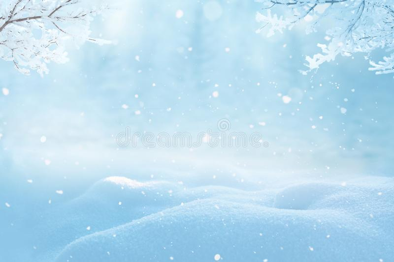 Merry christmas and happy new year greeting background. With copy-space.Beautiful winter landscape with snow covered trees stock photo