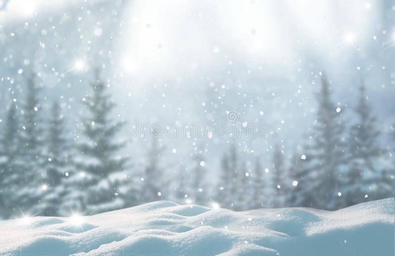 Merry christmas and happy new year greeting background with copy. Space.Beautiful winter landscape with snow covered trees stock images