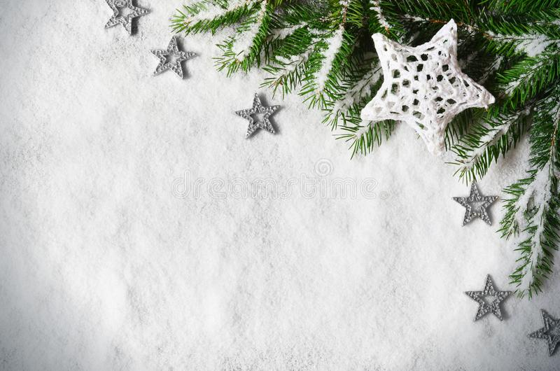 Merry christmas and happy new year greeting background with copy-space. Winter background with snow and christmas light royalty free stock photo