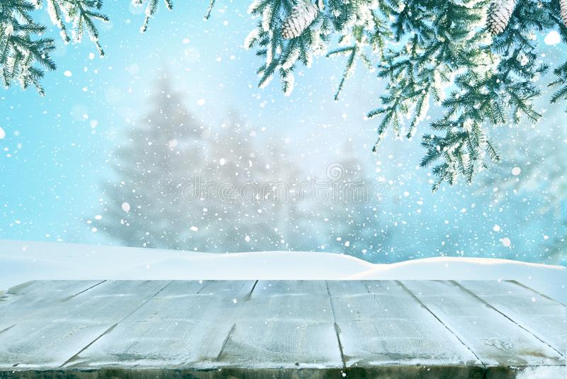 Merry christmas and happy new year greeting background with table royalty free stock photos