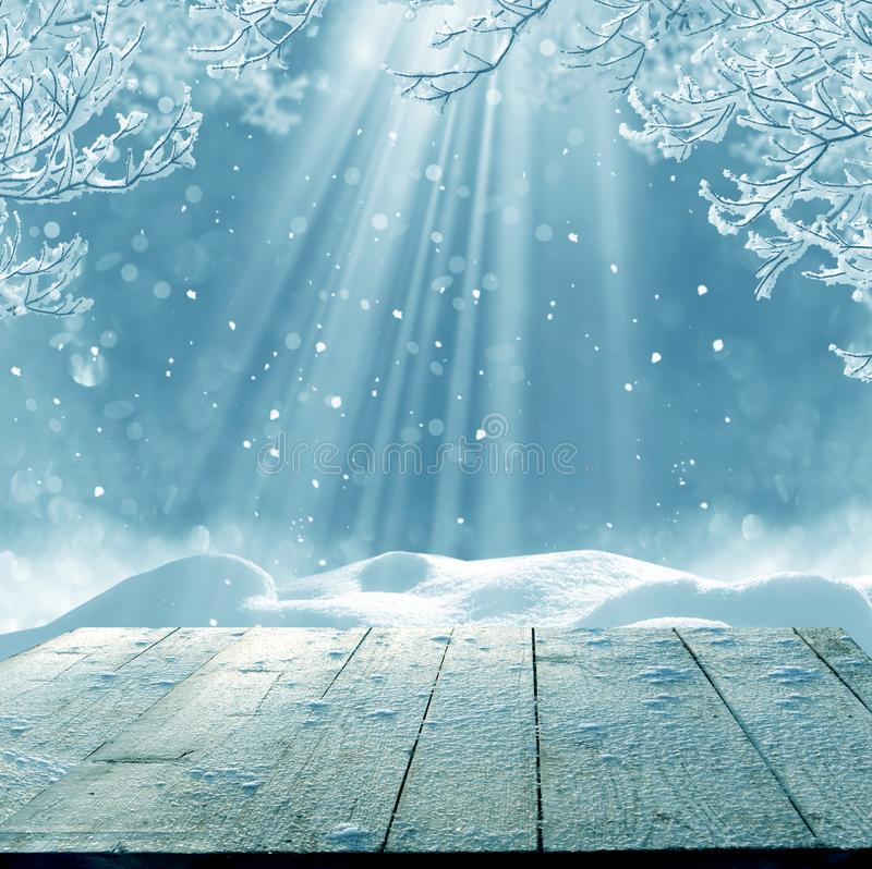 Merry christmas and happy new year greeting background with table. Merry christmas and happy new year greeting background with copy-space. Winter landscape with royalty free stock photo