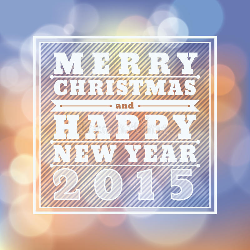 Merry Christmas and Happy New Year 2015 greeting card stock illustration