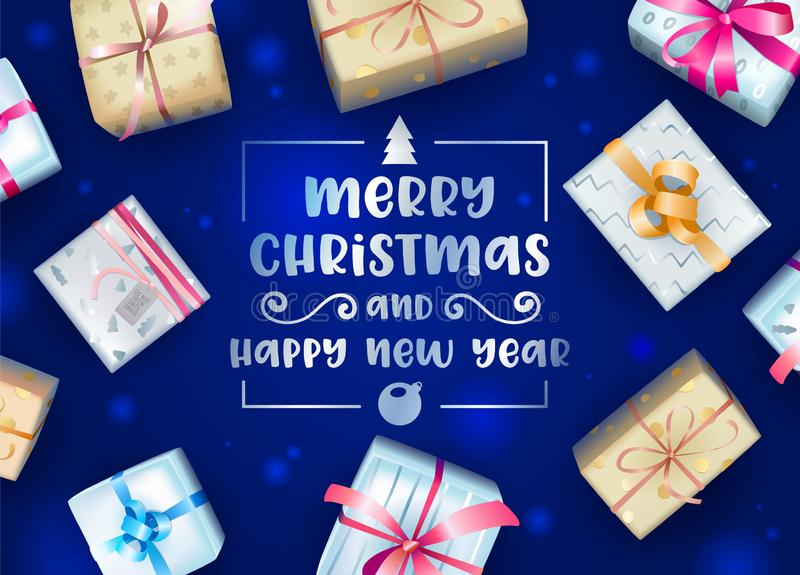 Merry Christmas and Happy New Year Greeting Card or Banner with Creative Typography and Colorful Wrapped Gift Boxes stock illustration