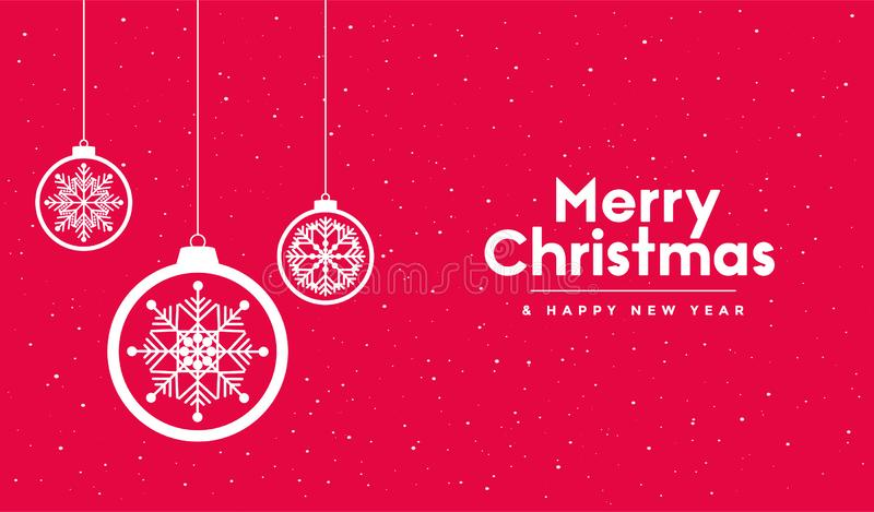 Merry Christmas and Happy New Year greeting card, banner, poster, flyer with white xmas ball and snowflakes. Vector illustration stock photos