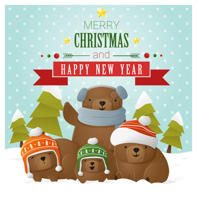 Merry Christmas and Happy New Year greeting card with bear family vector illustration