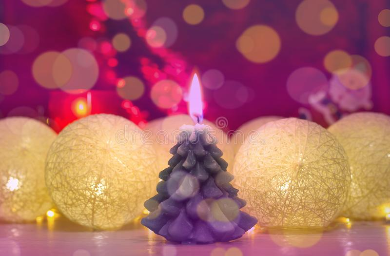 Merry Christmas and happy new year, greeting card. Beautiful decoration for the holidays. Decorations with Cotton Ball Lights and. Merry Christmas and happy new stock photography