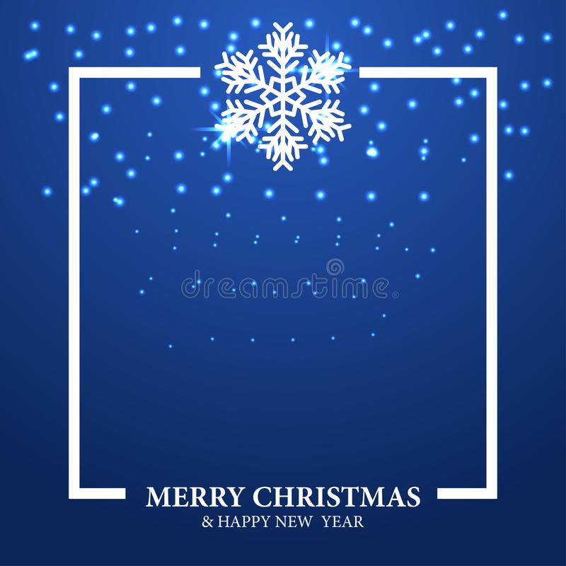 Merry Christmas and happy new year greeting card with blue background and illustration of white snowflake royalty free illustration