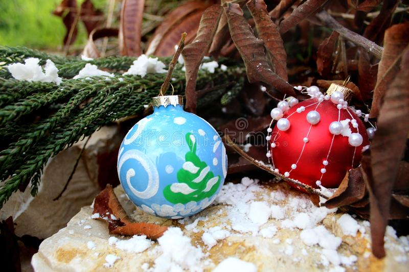 Merry Christmas or Happy New Year greeting card. Christmas balls stock photos