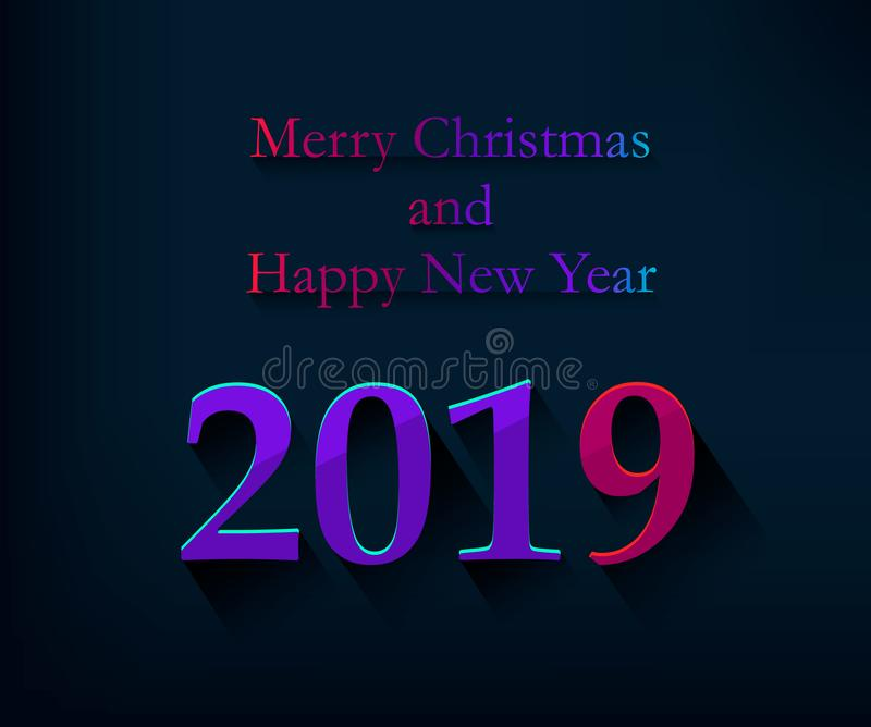 Merry Christmas and Happy New Year greeting card with colored number 2019 and congratulatory words. Vector illustration royalty free illustration