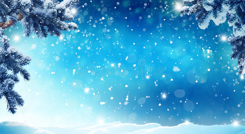 Merry christmas and happy new year greeting card. With copy-space.Christmas background.Winter landscape with snow and christmas trees royalty free stock photos