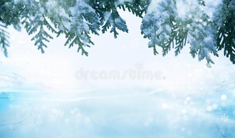 Merry Christmas and happy New Year greeting card with copy-space.Winter background. stock photos