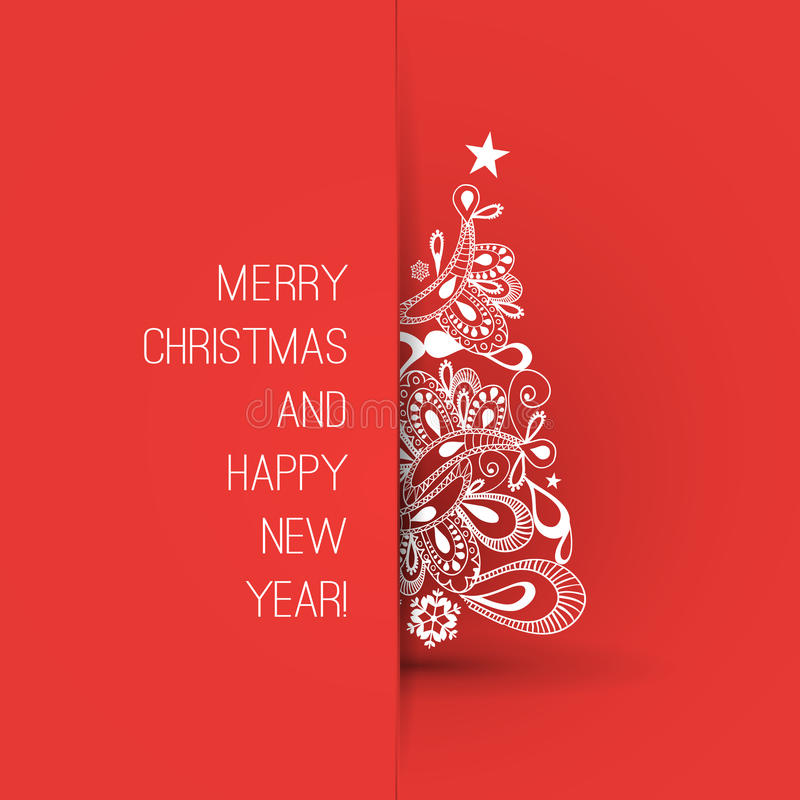Merry Christmas And Happy New Year Greeting Card, Creative Design