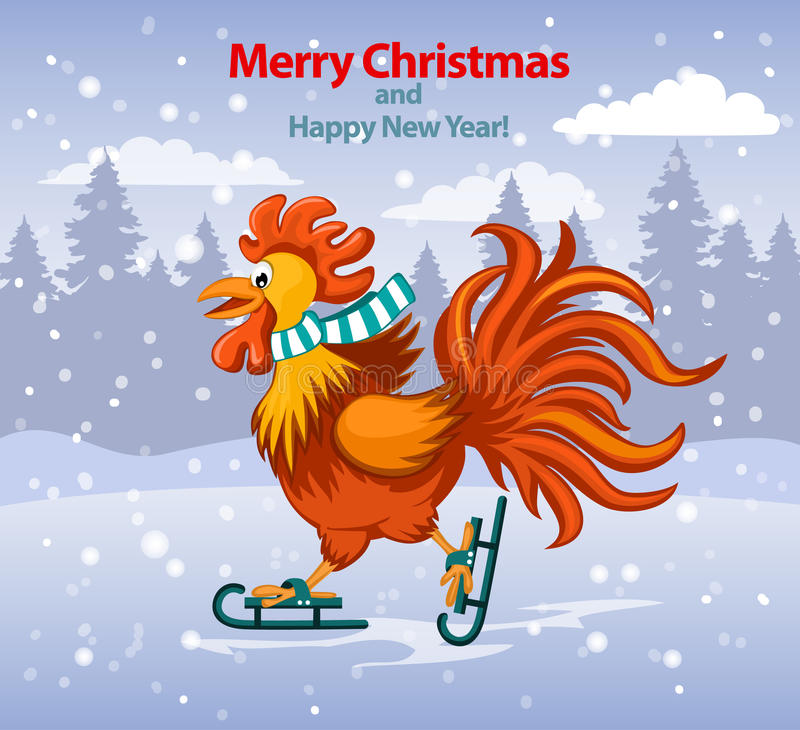 Merry christmas and happy new year greeting card with cute funny download merry christmas and happy new year greeting card with cute funny rooster ice skating stock m4hsunfo