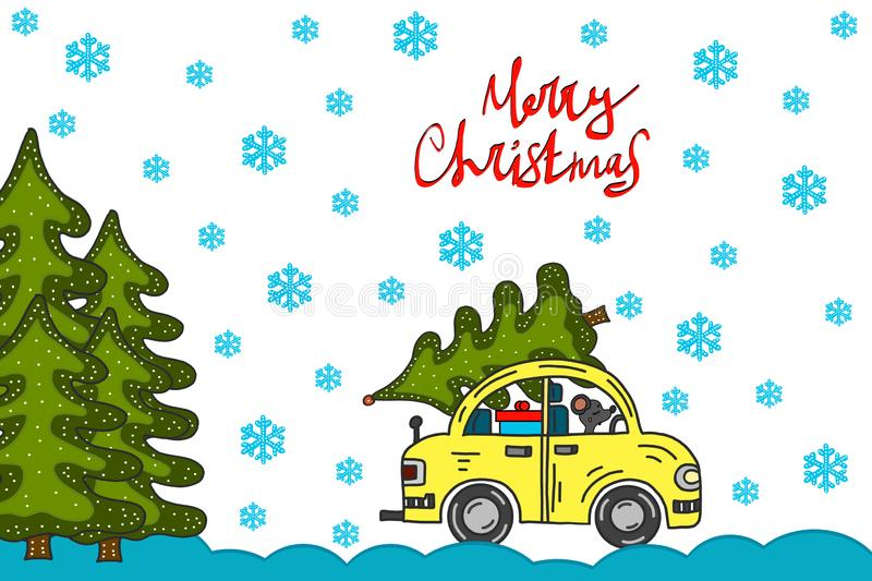 Merry christmas and happy new year greeting card with cute retro car with christmas tree on the roof. Postcard, poster, invitation stock illustration