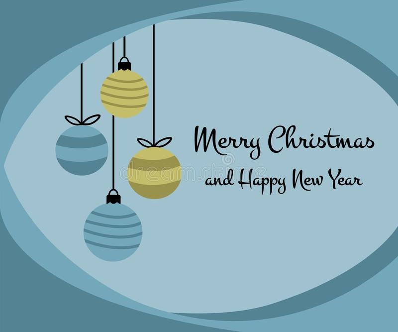 Merry Christmas happy new year greeting card design with four hanging christmas ball baubles in simple flat retro style vector illustration