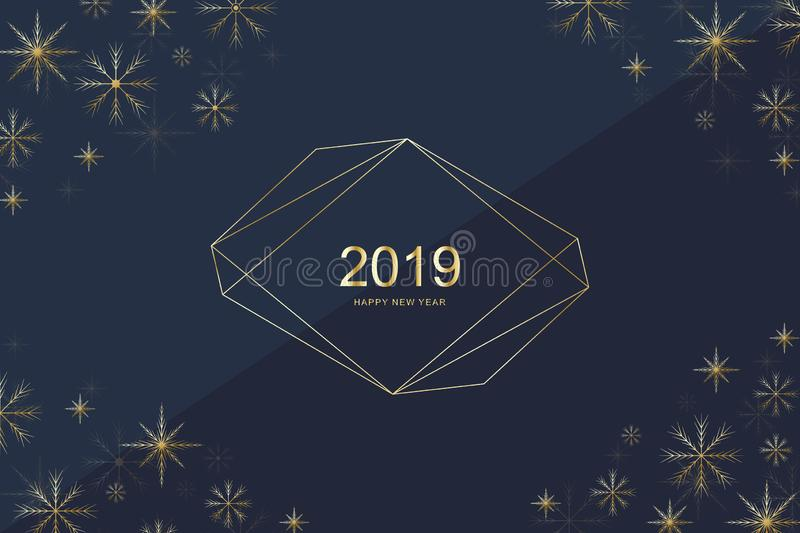Merry Christmas and Happy New Year 2019 greeting card design with golden snowflakes. Happy new year 2019. Holiday card vector illustration