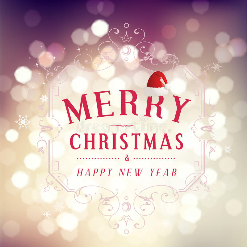 Merry Christmas and Happy New Year greeting card festive inscription with ornamental elements on bokeh vintage background, vector royalty free illustration
