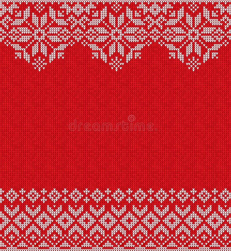 Merry Christmas Happy New Year greeting card frame knitted pattern. Ugly sweater Merry Christmas and Happy New Year greeting card frame border knitted pattern stock images