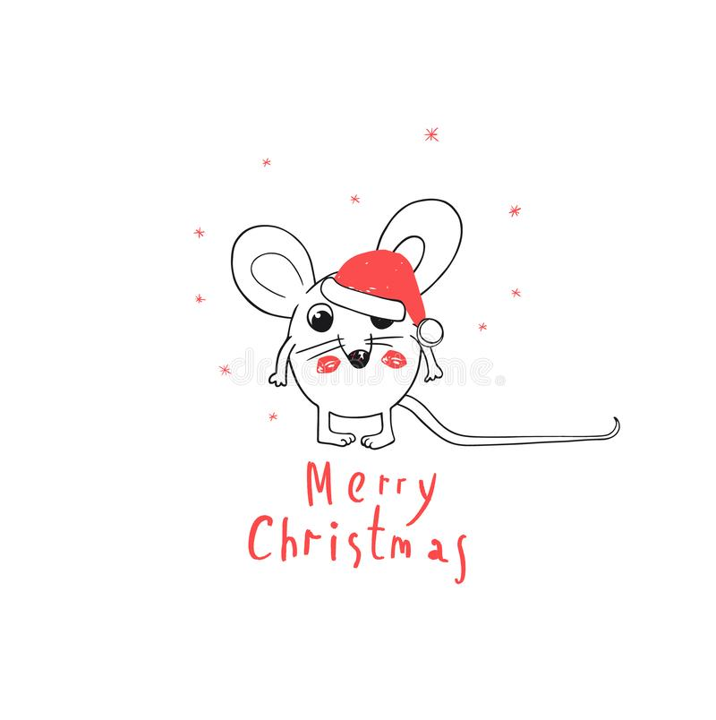 Merry Christmas and happy New Year Greeting Card. 2020 Funny White Mouse Wear Santa Claus Hat. Comic. Animal cartoon vector illustration