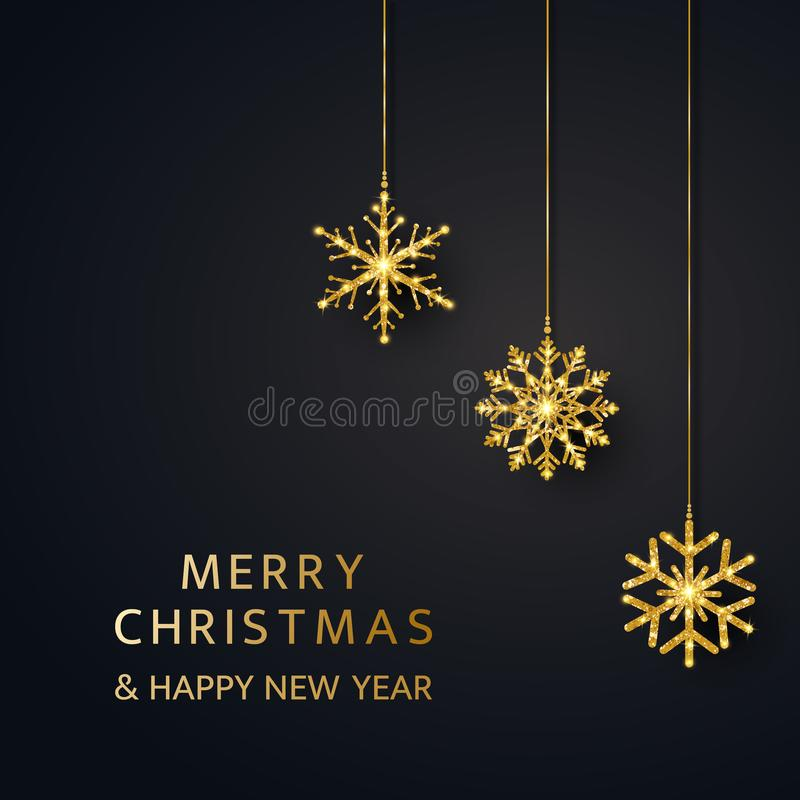 Merry Christmas and Happy New Year greeting card with hanging glitter snowflakes. Bright golden baubles on black royalty free stock photos
