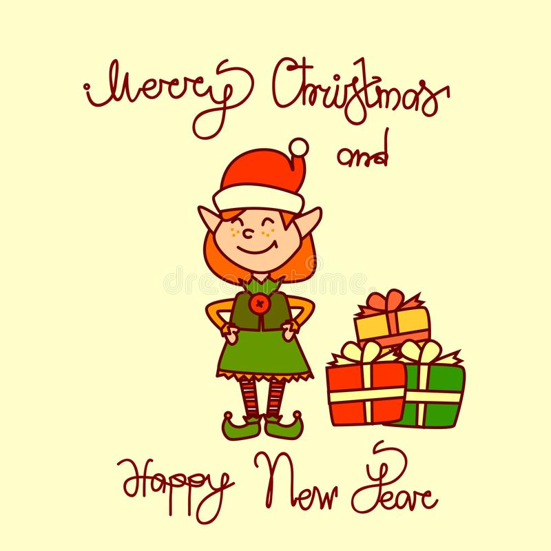 Merry Christmas And Happy New Year Greeting Card With Holiday Elf Girl Hand Drawn Lettering Background royalty free illustration