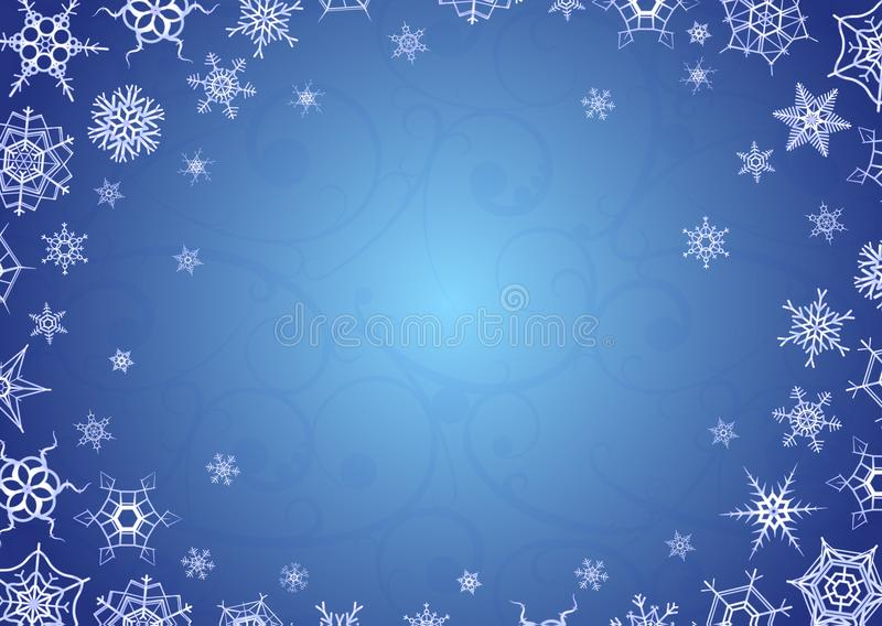 Merry christmas and happy new year greeting card, horizontal holiday background a4 proportions with snowflakes on blue vector illustration