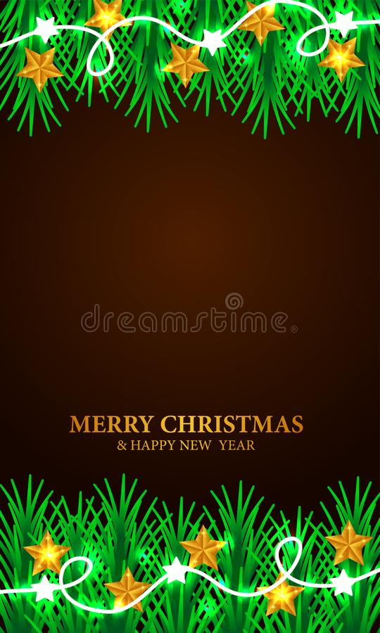 Merry Christmas and Happy new year greeting card label poster template with illustration of fir garland leaves. Joy vector illustration