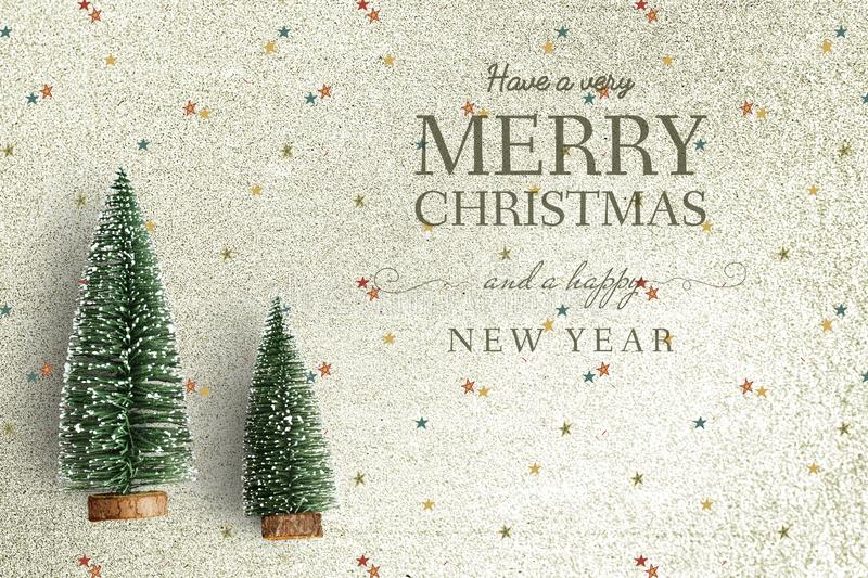 Merry Christmas and Happy New Year greeting card mockup royalty free stock images