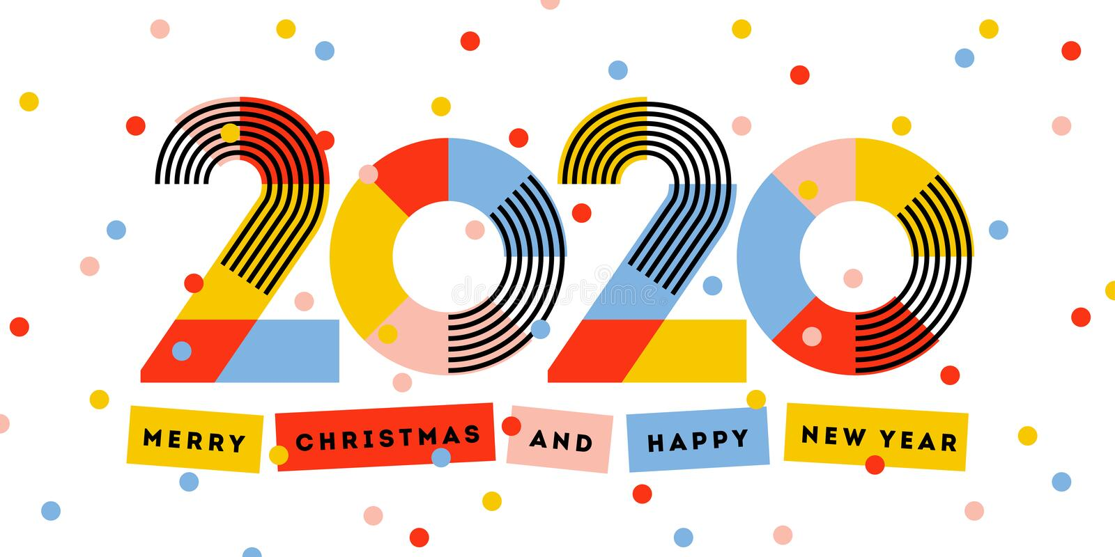 Merry Christmas and Happy New Year 2020 greeting card. Multicolored abstract numbers with ribbons and confetti isolated on white vector illustration