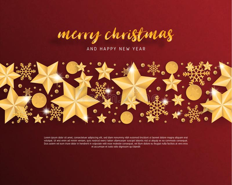 Merry Christmas and Happy new year greeting card in paper cut style background. Vector illustration Christmas celebration star, stock illustration