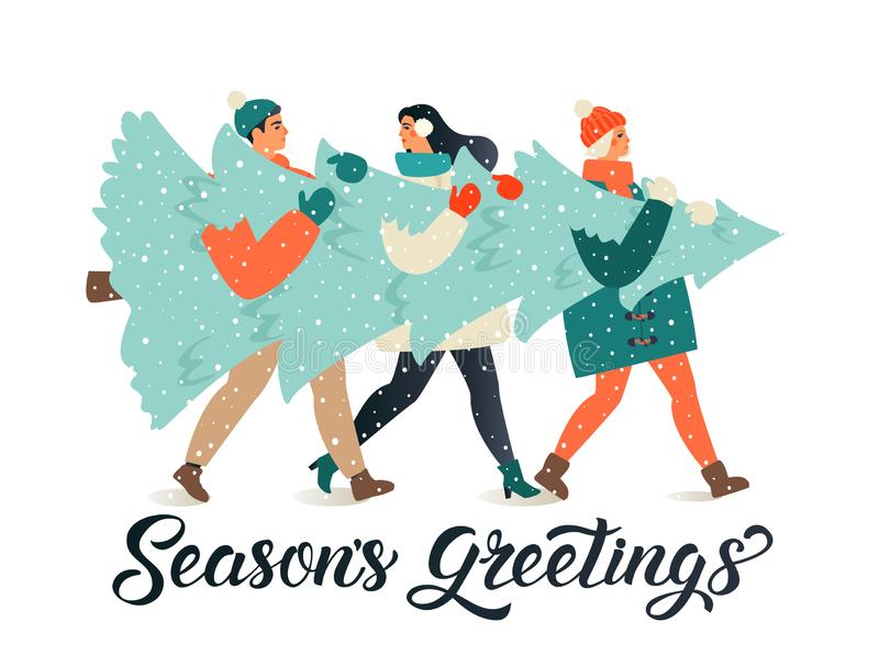 Merry Christmas and Happy New Year greeting card. People group carrying big xmas pine tree together for holiday season vector illustration