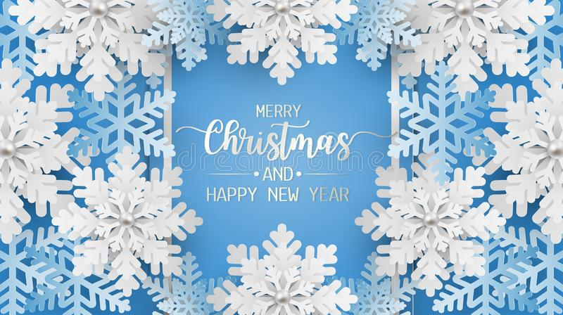 Merry christmas and happy new year greeting card, postcard with snowflake on blue background royalty free illustration