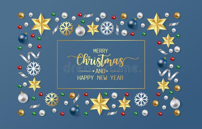 Merry christmas and happy new year greeting card, postcard with white and blue balls and gold star on blue background. Vector royalty free illustration