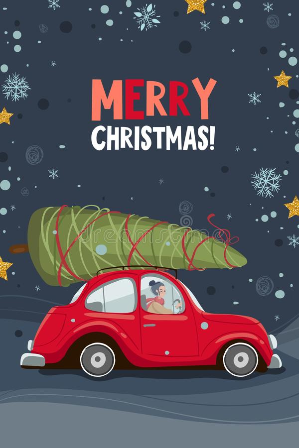 Merry christmas and happy new year greeting card with red car and christmas tree. Postcard, greeting card, poster or royalty free illustration