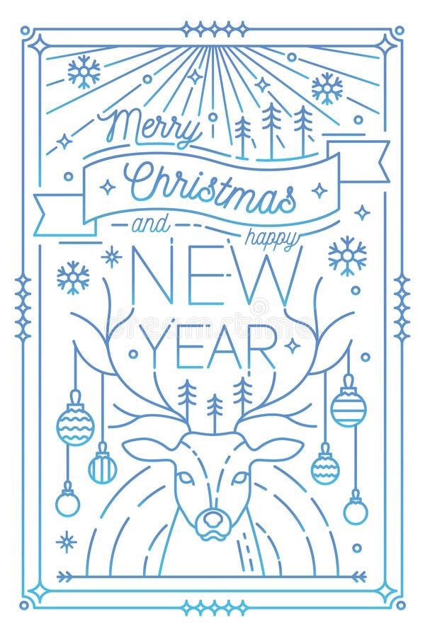 Merry Christmas and Happy New Year greeting card template with holiday attributes drawn in line art style - deer antlers. Decorated with baubles, snowflakes royalty free illustration