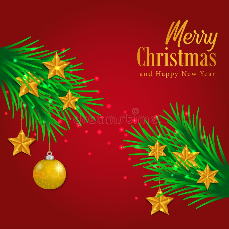 Merry Christmas and happy new year greeting card template with illustration of fir garland decoration with bauble ball and star. Golden accessories stock illustration
